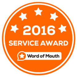 Service Award given by Word of Mouth for outstanding Customer Ratings 2016