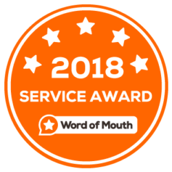 Service Award given by Word of Mouth for outstanding Customer Ratings 2018