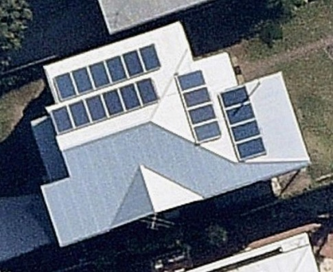 Satellite image showing completed solar panel installation