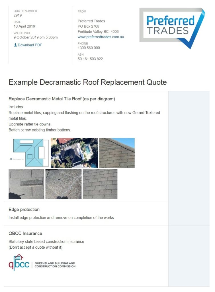 Decramastic Roof Replacement Quote Example