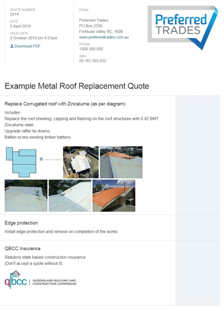 Metal Roof Replacement Quote Example